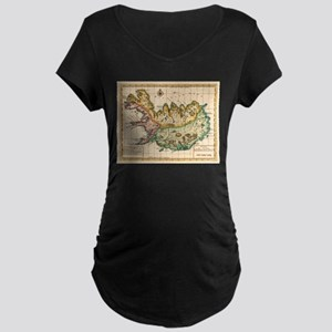 Vintage Map of Iceland (1756) Maternity T-Shirt