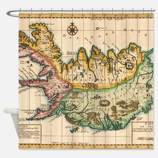 Vintage Map of Iceland (1756) Shower Curtain