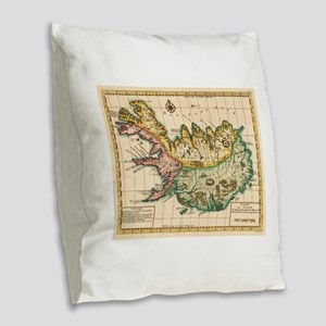 Vintage Map of Iceland (1756) Burlap Throw Pillow