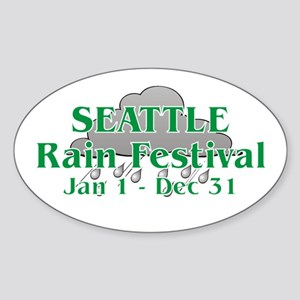 Seattle Rain Festival Oval Sticker