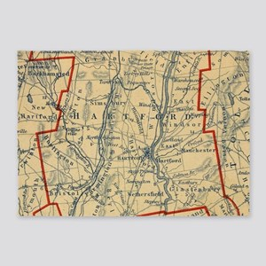 Vintage Map of Hartford County CT ( 5'x7'Area Rug