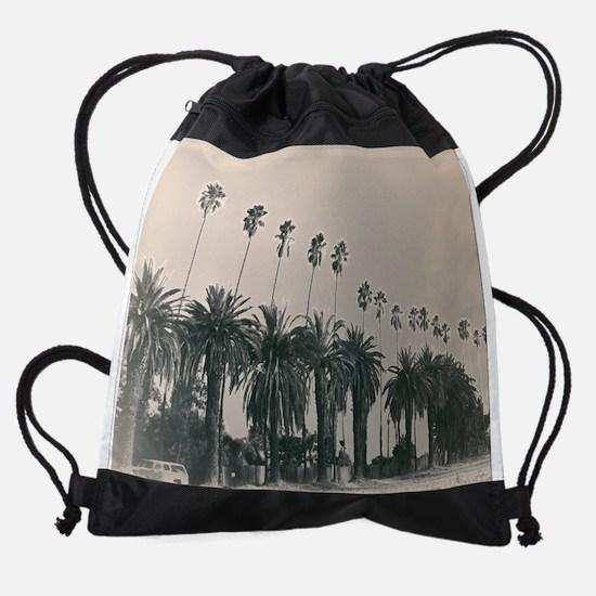 Black And White Palm Trees Drawstring Bag