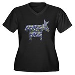 Texas Blue Donkey Women's Plus Size V-Neck Dark T-