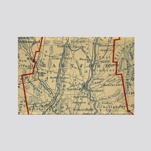 Vintage Map of Hartford County CT (1846) Magnets
