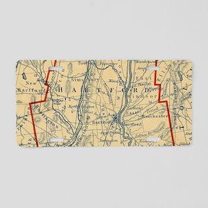 Vintage Map of Hartford Cou Aluminum License Plate