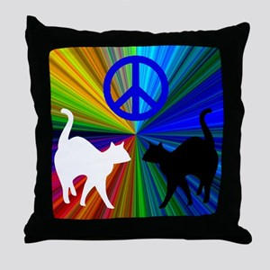 PEACE CATS Throw Pillow