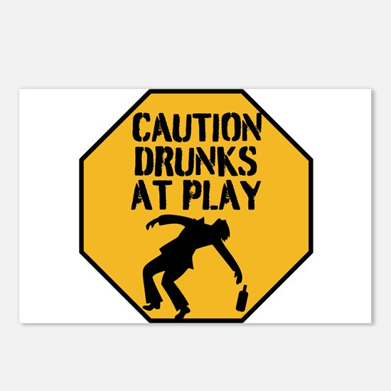 CAUTION DRUNKS AT PLAY Postcards (Package of 8)