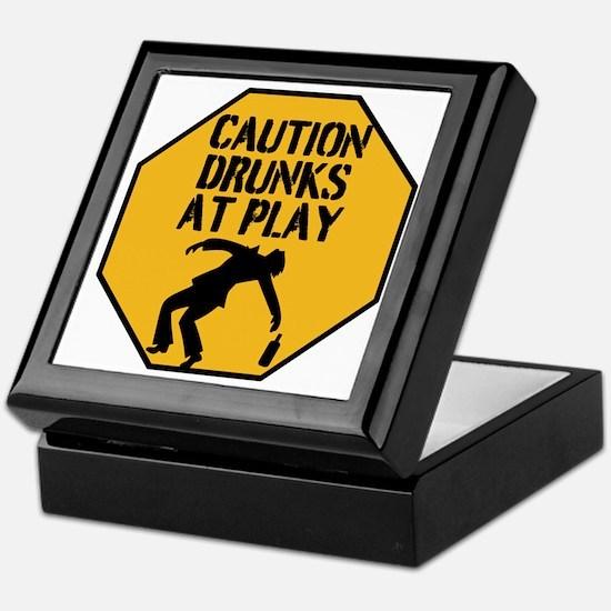 Caution Drunks At Play Keepsake Box
