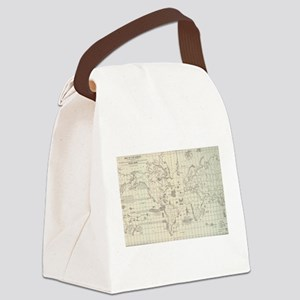Vintage Map of The World Whaling Canvas Lunch Bag