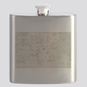 Vintage Map of The World Whaling Grounds (18 Flask