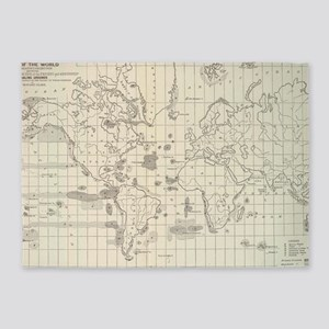 Vintage Map of The World Whaling Gr 5'x7'Area Rug