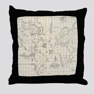 Vintage Map of The World Whaling Grou Throw Pillow