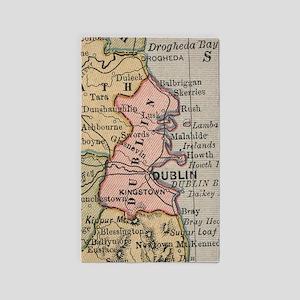 Vintage Map of Dublin Ireland (1883) Area Rug