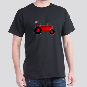 Personalized Red Tractor Dark T-Shirt