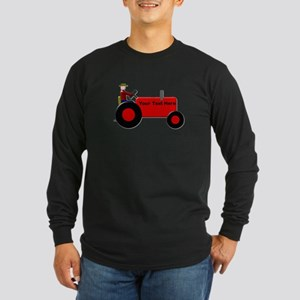 Personalized Red Tractor Long Sleeve Dark T-Shirt