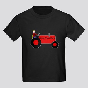 Personalized Red Tractor Kids Dark T-Shirt