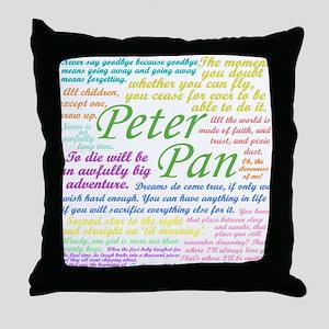 Peter Pan Quotes Throw Pillow