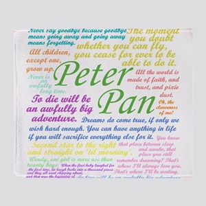 Peter Pan Quotes Throw Blanket