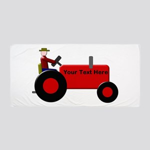 Personalized Red Tractor Beach Towel