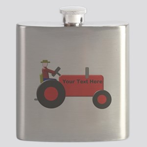 Personalized Red Tractor Flask