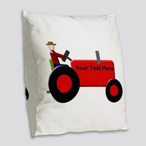Personalized Red Tractor Burlap Throw Pillow