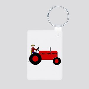 Personalized Red Tractor Aluminum Photo Keychain
