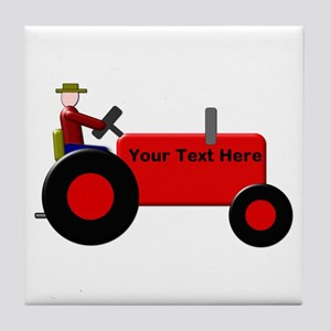 Personalized Red Tractor Tile Coaster