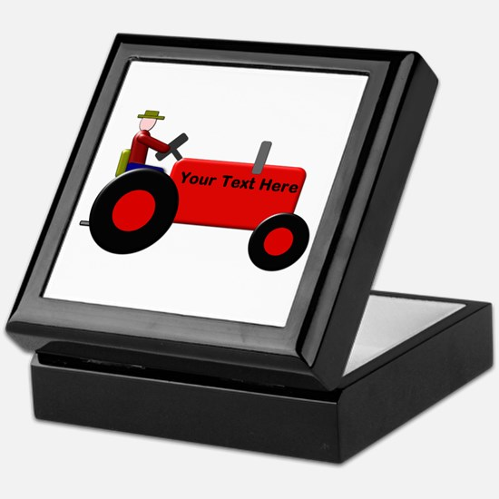 Personalized Red Tractor Keepsake Box