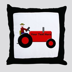 Personalized Red Tractor Throw Pillow