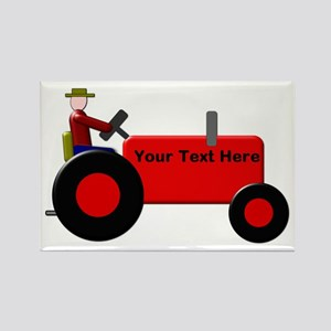 Personalized Red Tractor Rectangle Magnet