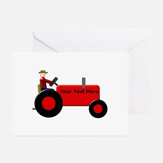 Personalized Red Tractor Greeting Cards (Pk of 20)