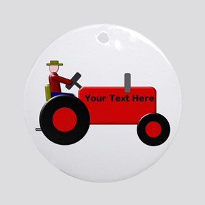 Personalized Red Tractor Round Ornament