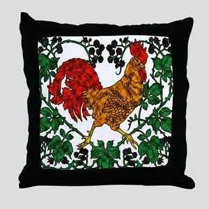 Rooster and Blackberries Throw Pillow