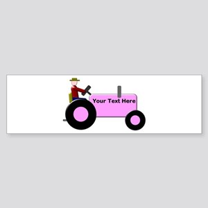 Personalized Pink Tractor Sticker (Bumper)