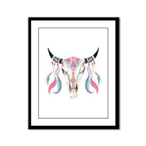 Buffalo Skull Framed Panel Print