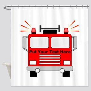 Personalized Fire Truck Shower Curtain