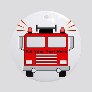 Personalized Fire Truck Round Ornament