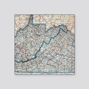 Vintage Map of Virginia and West Virginia Sticker