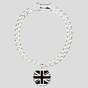 black union jack british Charm Bracelet, One Charm