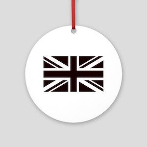 black union jack british flag Round Ornament