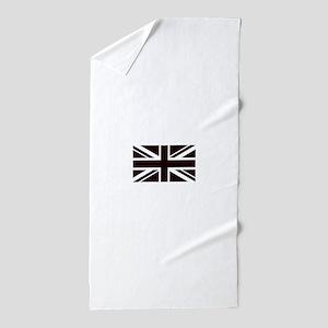 black union jack british flag Beach Towel