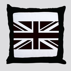 black union jack british flag Throw Pillow