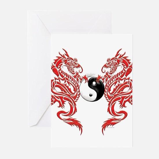 Yin Yang Dragons Greeting Cards