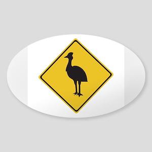 Attention Cassowaries, Australia Oval Sticker