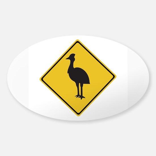 Attention Cassowaries, Australia Oval Decal