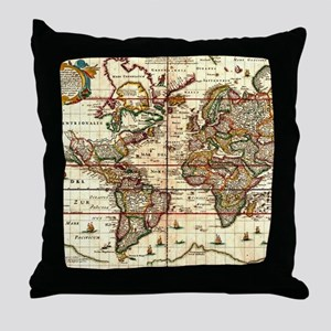 Vintage Map of The World (1652) Throw Pillow
