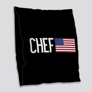 Careers: Chef (U.S. Flag) Burlap Throw Pillow