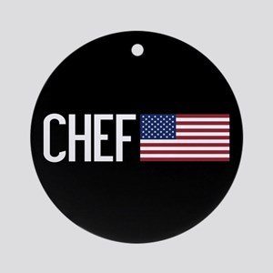 Careers: Chef (U.S. Flag) Round Ornament