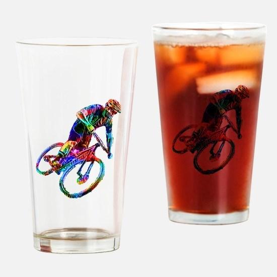 Technicolor Mountain Biker Racing D Drinking Glass