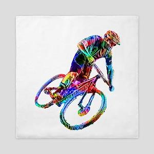 Technicolor Mountain Biker Racing Down Queen Duvet